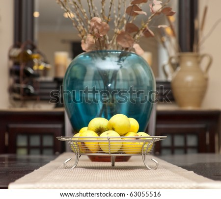 Contemporary Fruit Tray with Apples Centerpiece on Table - stock photo