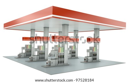 Contemporary gas station isolated on white background. 3D render. - stock photo