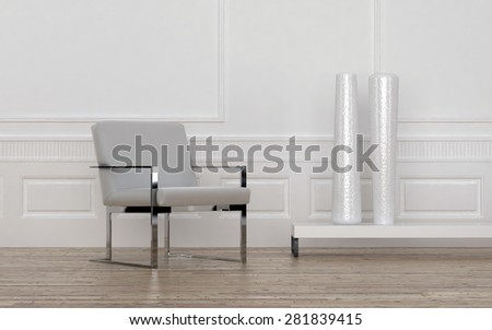 Contemporary Grey and Metal Chair and Tall White Vases on Low Shelf in Empty Room with Wood Floor and White Wall with Wainscotting. 3d Rendering. - stock photo