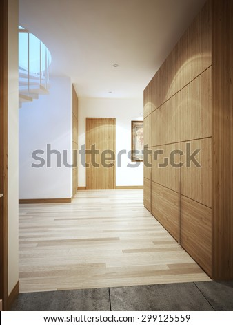Contemporary hallway interior. 3D render - stock photo