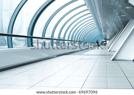 contemporary hallway of airport - stock photo