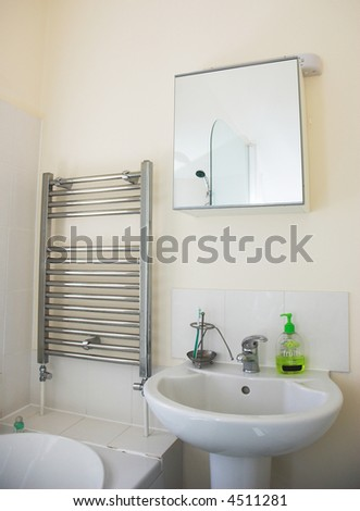 Contemporary home bathroom. Property released. - stock photo