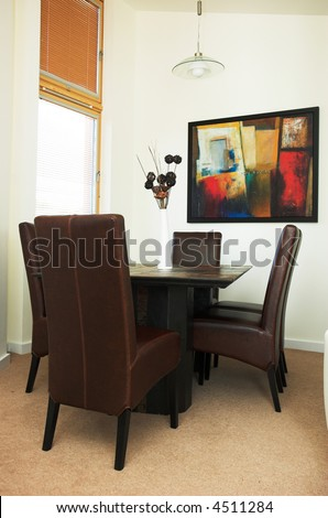 Contemporary home dining room. Property released. - stock photo