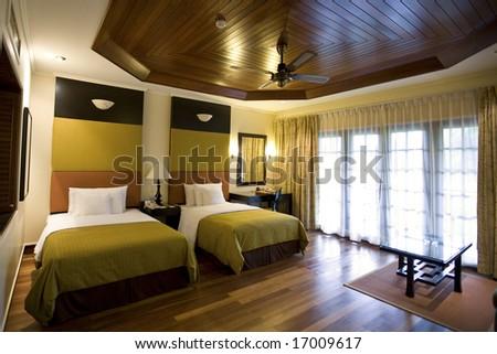 contemporary hotel room - stock photo