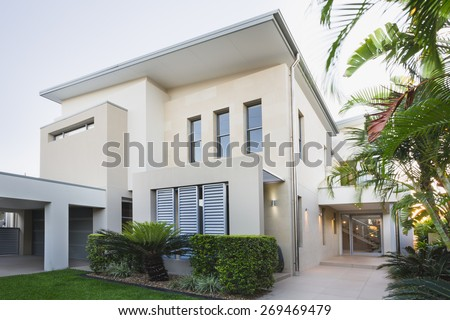 Contemporary house exterior on the Gold Coast, Queensland, Australia - stock photo