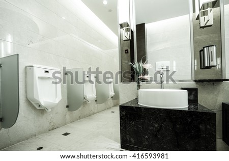 contemporary interior of public toilet
