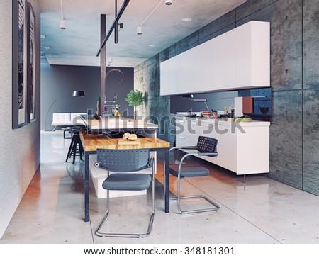 contemporary kitchen interior design. 3d concept - stock photo