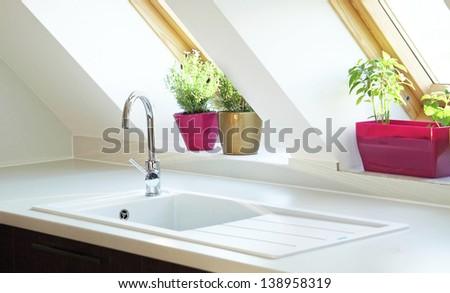 contemporary kitchen sink - stock photo