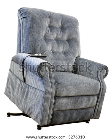 Contemporary Lift Chair with Recliner in Blue Tweed Fabric
