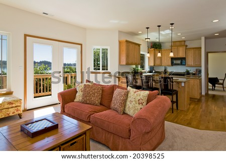 Contemporary Living Room and Kitchen - stock photo