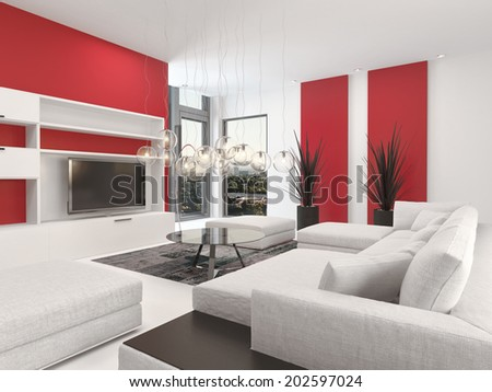 Contemporary Living Room Interior With White Decor And Lounge Suite Colorful Vibrant Red Accents