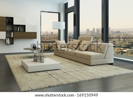Contemporary living room loft interior - stock photo