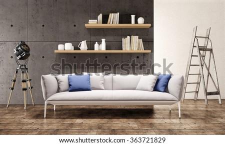 Contemporary living room loft interior - stock photo