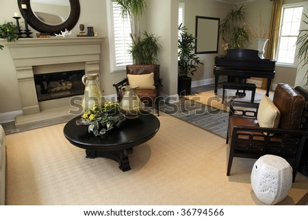 Contemporary living room with a fireplace. - stock photo