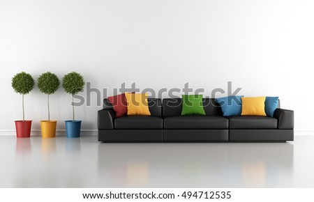 Contemporary living room with black sofa and colorful cushion-3d rendering