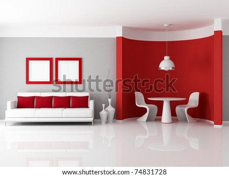 contemporary living room with dining room corner - rendering - stock photo