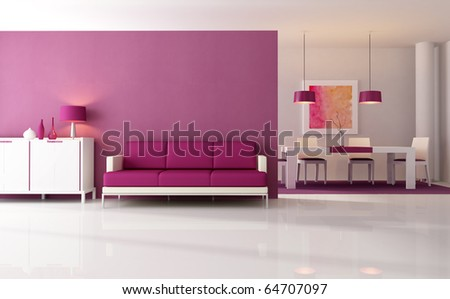 contemporary living room with dining space - rendering - the art work on wall is a my composition - stock photo