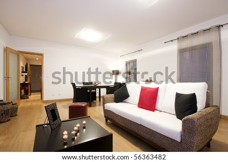Contemporary living room with elegant designed furniture (empty interior) - stock photo