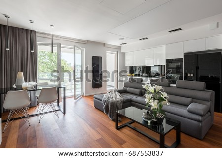 Living Rooms With Gray Sofas. Contemporary living room with gray sofa  table and balcony Living Room Gray Sofa Table Stock Photo 687553837