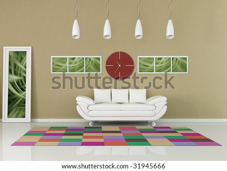 contemporary living room with red clock and colored carpet - rendering,the picture art on wall is a my composition