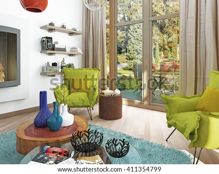Contemporary living room with sitting area and two armchairs. Comfortable chairs in style kitsch, green color. Coffee table, floor lamp white. 3D render.