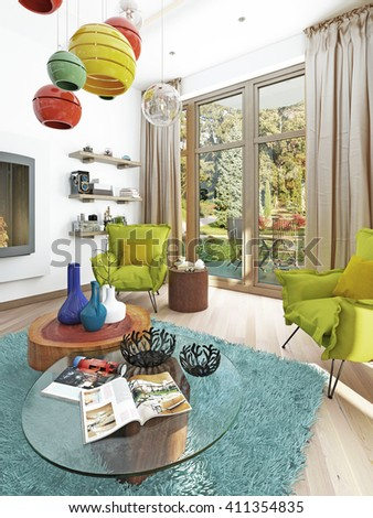 Contemporary Living Room With Sitting Area And Two Armchairs. Comfortable  Chairs In Style Kitsch Green