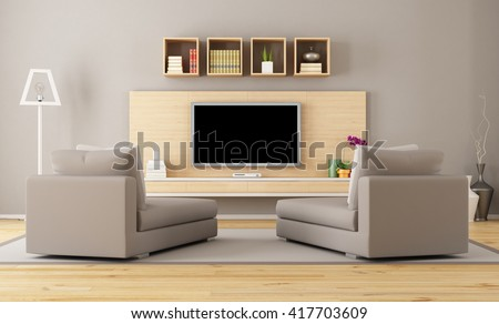 Contemporary living room with tv - 3d rendering - stock photo
