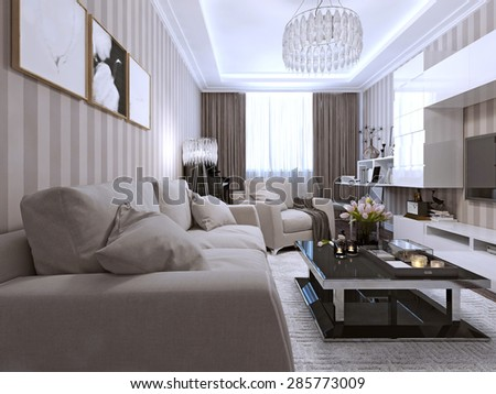 Contemporary Living Style. 3d render
