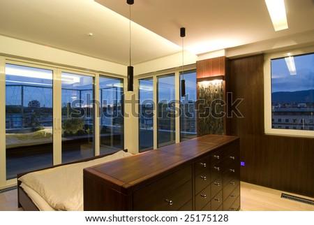 contemporary loft - sleeping - stock photo