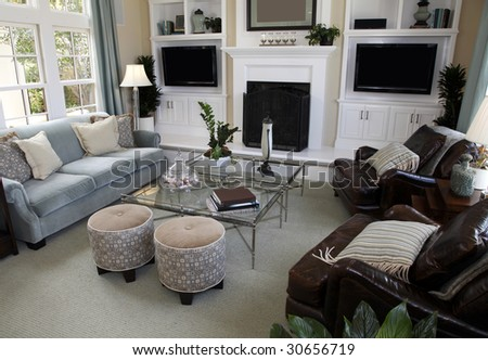 Contemporary luxury home living room with stylish decor. - stock photo