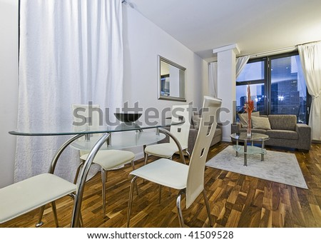 contemporary luxury living room with dining area