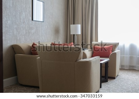 Contemporary luxury living room with stylish decor - stock photo