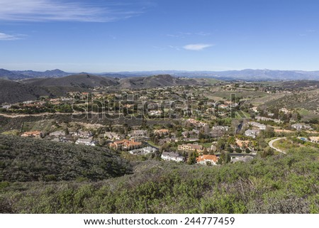 Contemporary mansion neighborhood in suburban Thousand Oaks near Los Angeles, California. - stock photo