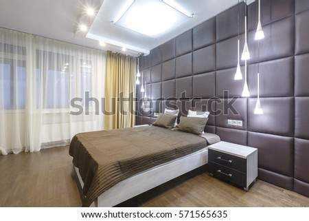 Contemporary Master Bedroom In A Luxurious Apartment Downtown Modern Designer Materials Soft Brown Palette