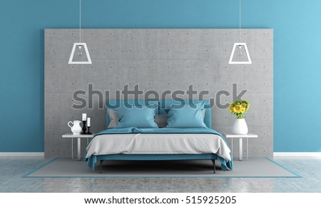 Contemporary master bedroom with double bed and concrete panel - 3d rendering