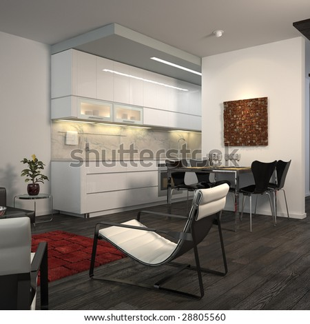 Contemporary minimalist flat with open-plan kitchen (3D render) - stock photo
