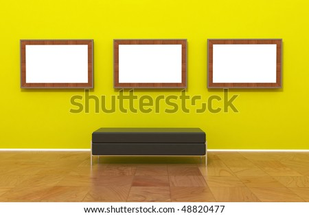Contemporary modern museum gallery interior, empty blank canvas painting or photo on green yellow wall. Chrome Bench. - stock photo