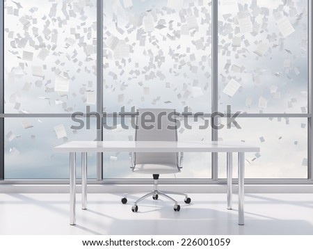 Contemporary office and falling documents over the sky.  - stock photo