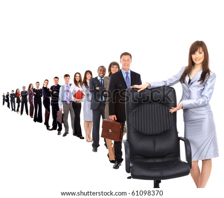 contemporary office chair and businesswoman - stock photo