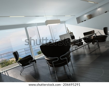 Contemporary office conference room interior with scattered armchairs around a central table in front of a glass wall overlooking the ocean and an easel on a stand in the corner - stock photo