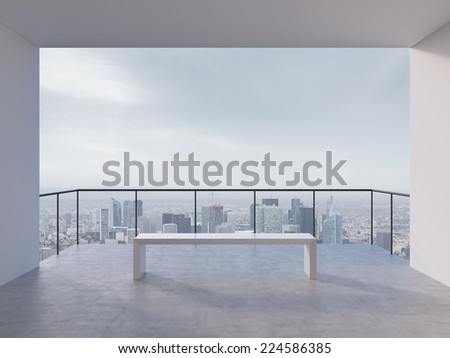 Contemporary office hall. City view. - stock photo