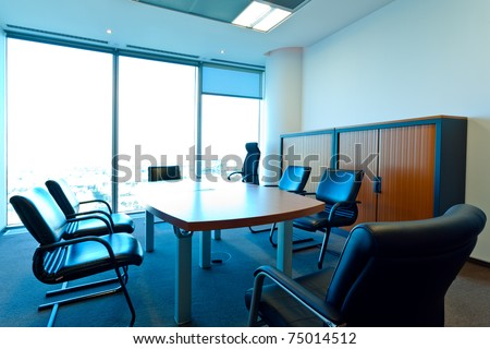 Contemporary office interior free of people - stock photo