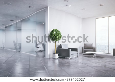 office decorative. unique office contemporary office interior with decorative plants and city view business  concept 3d rendering with office decorative a