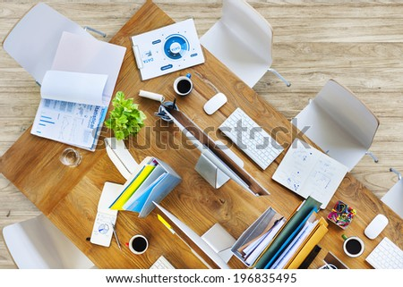 Contemporary Office Table with Equipments and Chairs - stock photo