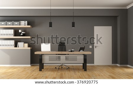 Contemporary office  with minimalist desk,closed door and shelves with binder - 3d Rendering - stock photo