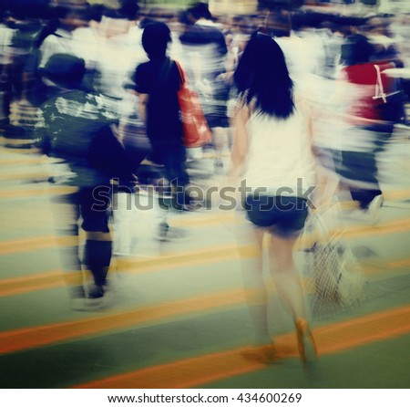 Contemporary Pedestrian Walking Street Concept - stock photo