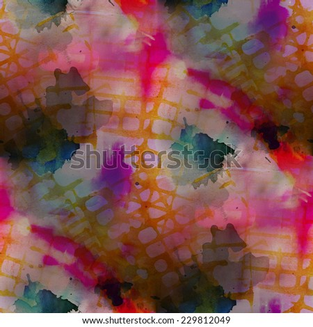 contemporary pink, orange avant-garde seamless wallpaper hand-drawing