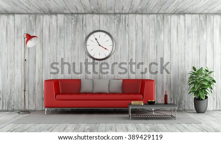 Contemporary Red couch in old wooden room with floor lamp,big clock and coffee table - 3D Rendering