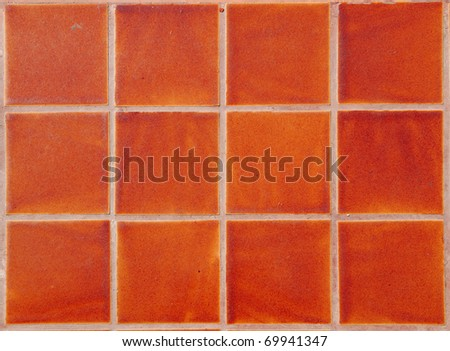 Contemporary Red Tile glossy mosaic Earthenware material - stock photo