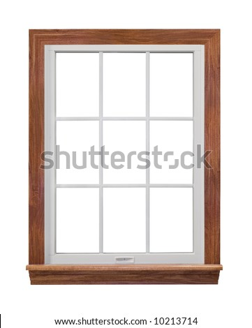 Contemporary, residential window frame isolated on white - stock photo